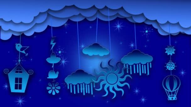 Modrá noc Blikající záře na hnědém pozadí. Animace