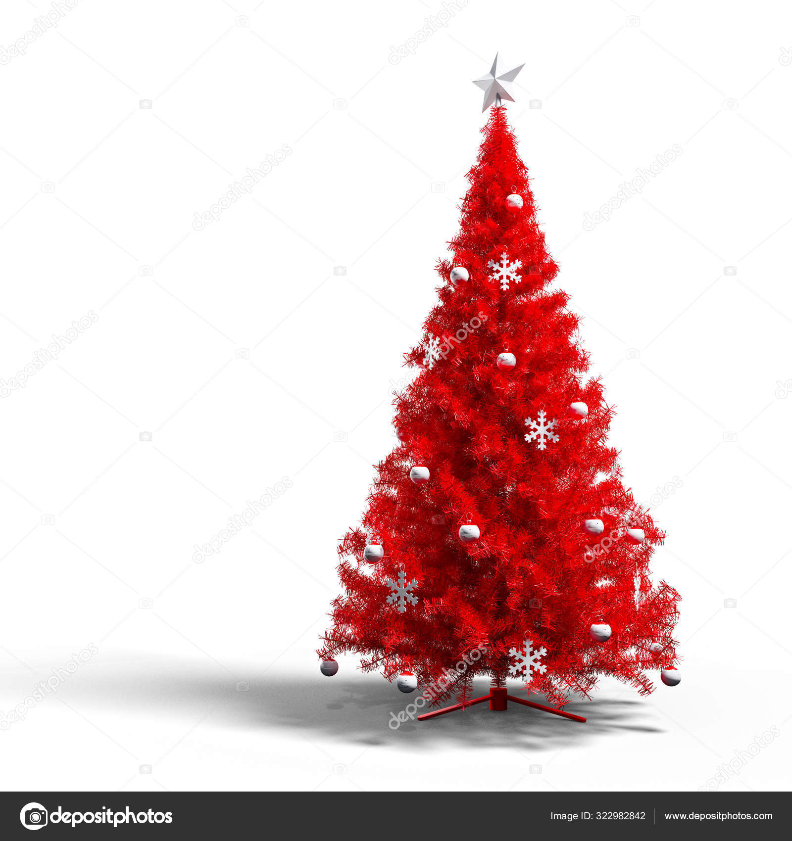 Red Christmas Tree Ornaments Star White Background Stock Photo Image By C Shlapak 322982842
