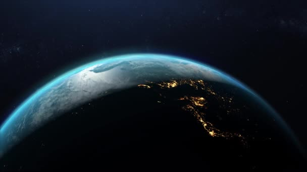 concept of the beginning of a new day. view of the earth from space. concept of new technologies and business