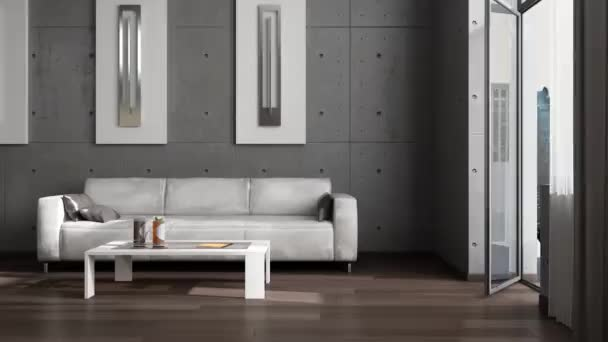 Dívány a modern belső térben. Hi-tech belső tér