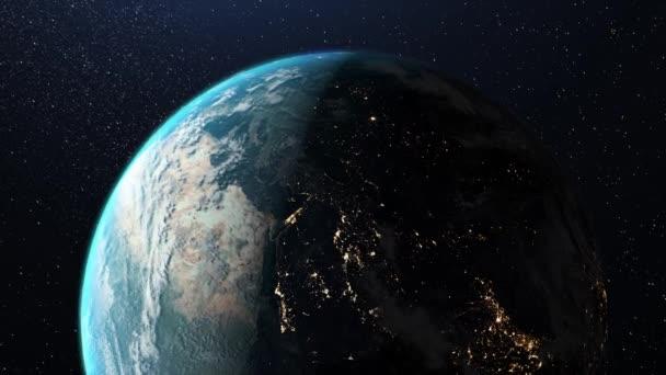 Konzept des Beginns eines neuen Tages. Blick auf die Erde aus dem All. Konzept neuer Technologien und Geschäftsmodelle