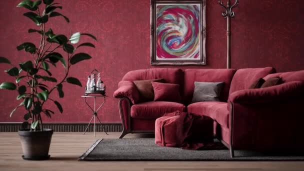 Cosy living room with red couch, zoom in. Red sofa in the living room. Classic interior in red style, 4k video. Realistic render.