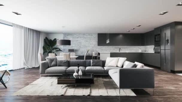 3D vykreslené záběry krásného moderního interiéru