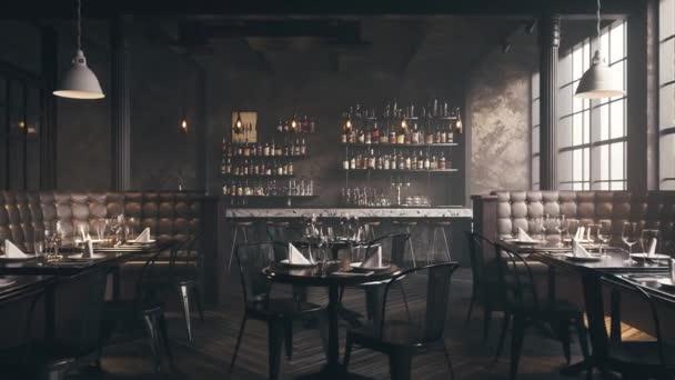 3D vykreslené záběry krásného moderního interiéru restaurace
