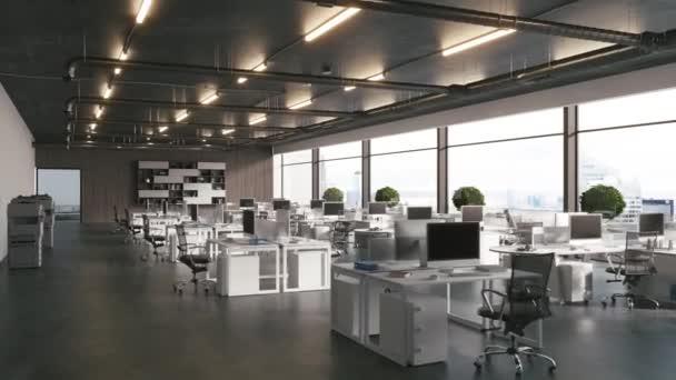 3D vykreslené záběry moderního interiéru kanceláře