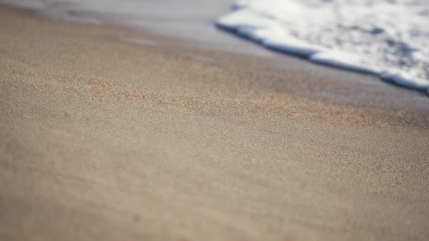 Tengeri hab a homokon, közelről. Közelkép nyugtató habos vízről