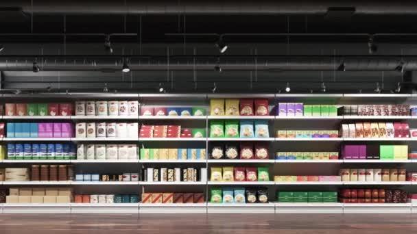 Police v supermarketu s výrobky. Moderní interiér supermarketu s kompletními produkty. Realistická 3D vizualizace