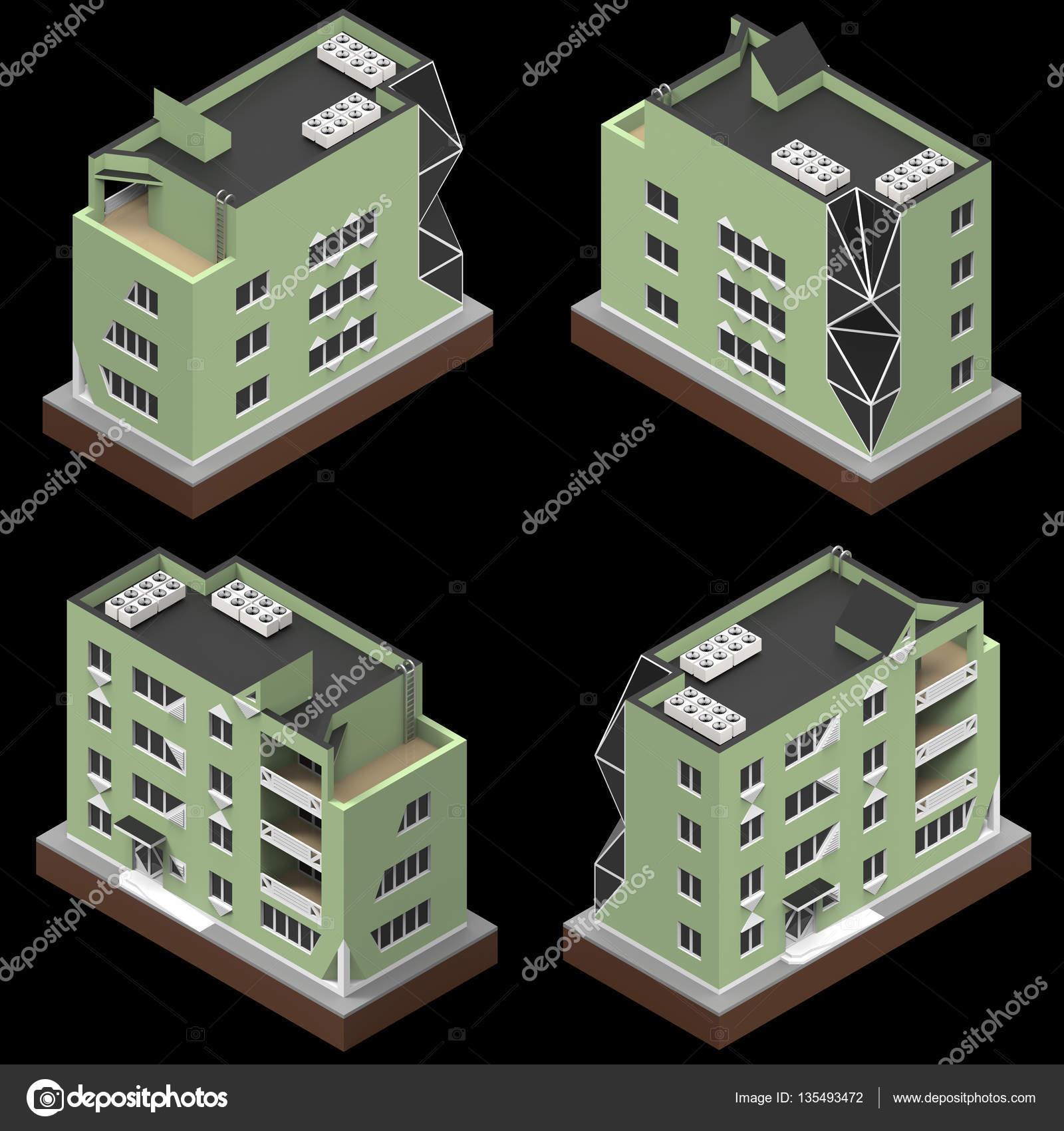 Edificación residencial en una pequeña plataforma aislada. Trama 3d ...