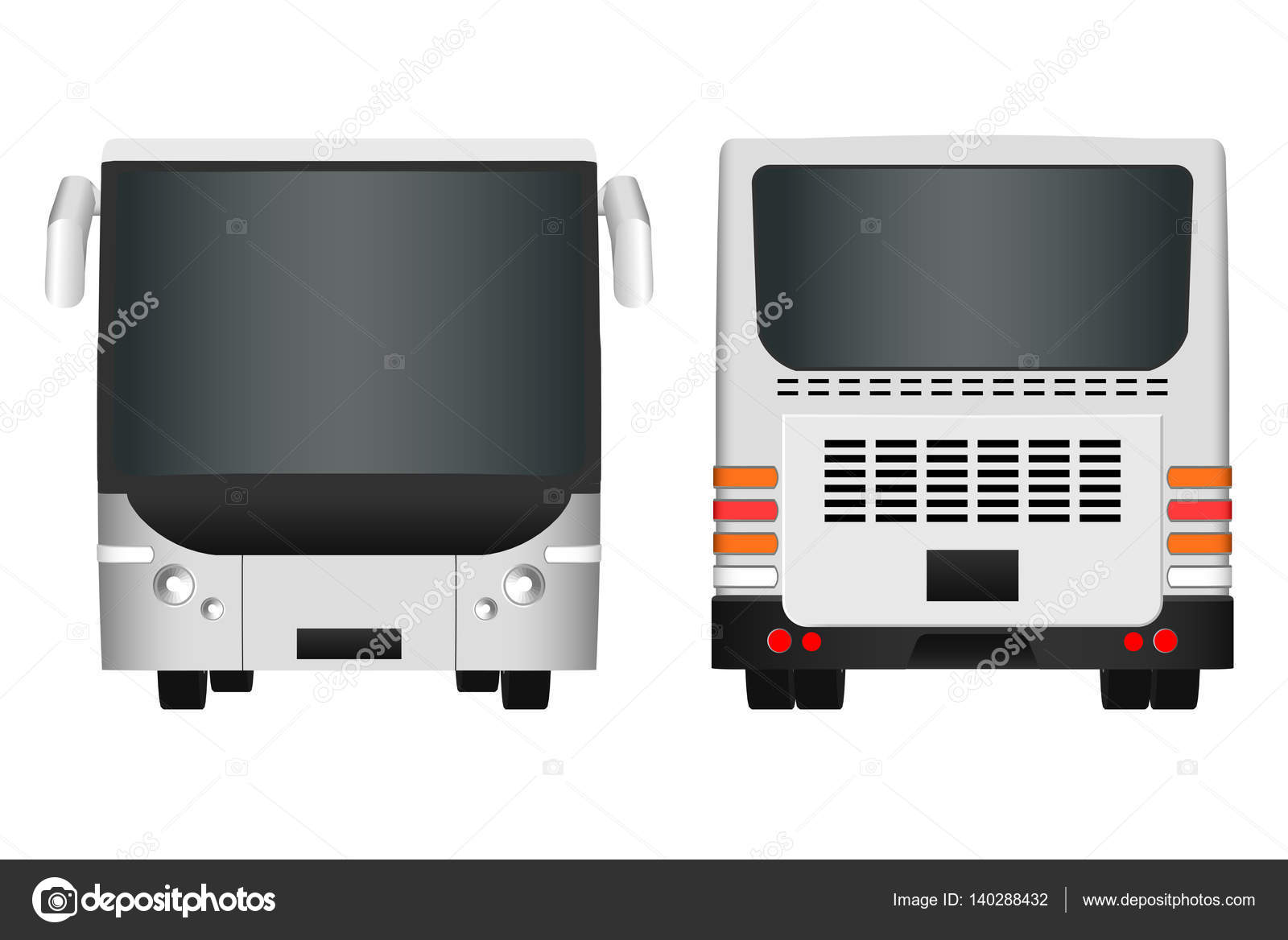 city bus template passenger transport sides view from back and