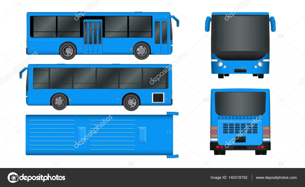 city bus template passenger transport all sides view from top side