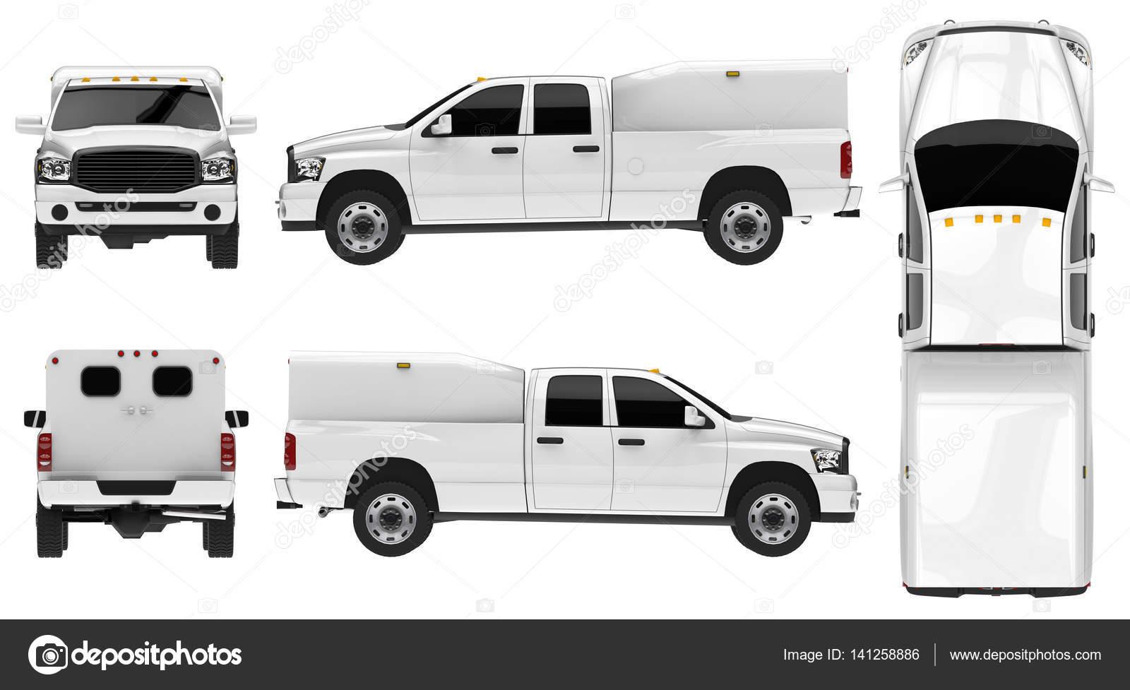 Camioneta blanca coche aislado de plantilla sobre fondo blanco ...