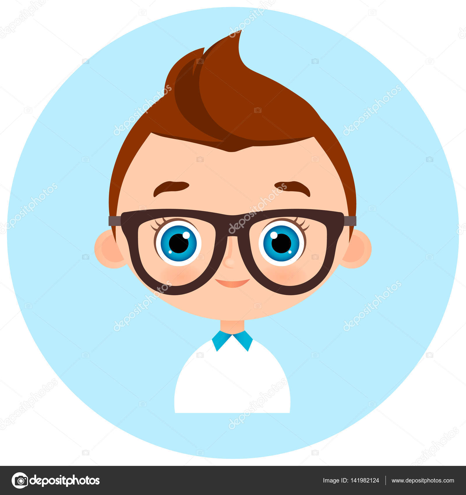 faces avatar in circle portrait young boy with glasses vector
