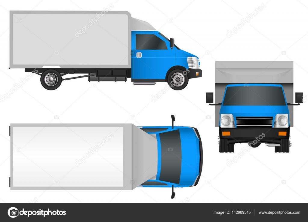 Blaue LKW Vorlage. Cargo van Vektor-Illustration isoliert Eps 10 auf ...