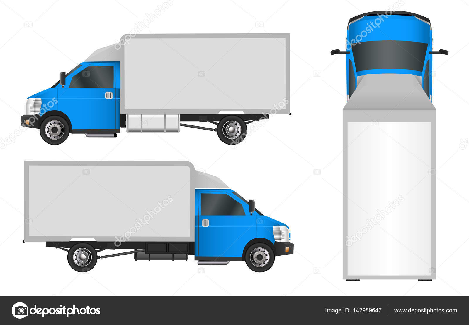 Plantilla de camión azul. Ilustración de Vector de van cargo 10 Eps ...