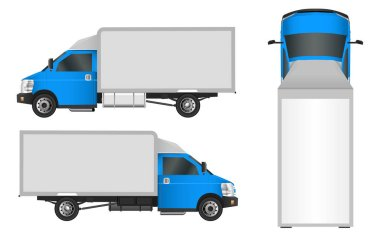 Blue truck template. Cargo van Vector illustration EPS 10 isolated on white background. City commercial vehicle delivery.