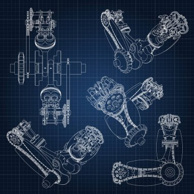 Various engine components, pistons, chains, nozzles and valves are depicted in the form of lines and contours. 3D drawing of assembly and parts.