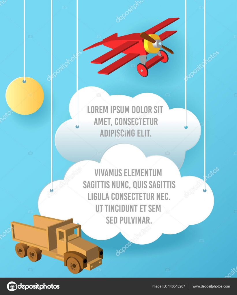 vector paper art of cloud car and plane in the sky template