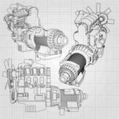 Photo A big diesel engine with the truck depicted in the contour lines on graph paper. The contours of the black line on the grey background.