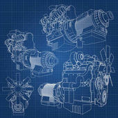 Photo A big diesel engine with the truck depicted in the contour lines on graph paper. The contours of the black line on the blue background.