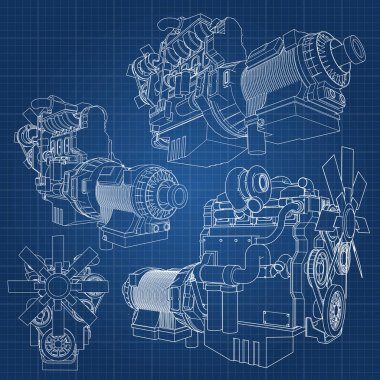 A big diesel engine with the truck depicted in the contour lines on graph paper. The contours of the black line on the blue background.