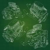 Photo A big diesel engine with the truck depicted in the contour lines on graph paper. The contours of the black line on the green background.