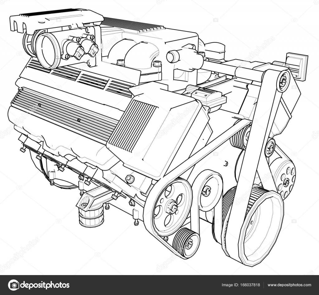 Leistungsstarkes Automotor. Der Motor wird auf einem weißen ...