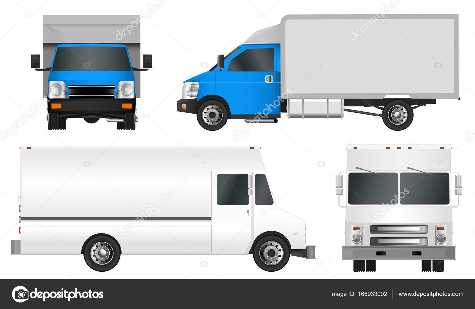 Set LKW Vorlage. Cargo van Vektor-Illustration isoliert Eps 10 auf ...