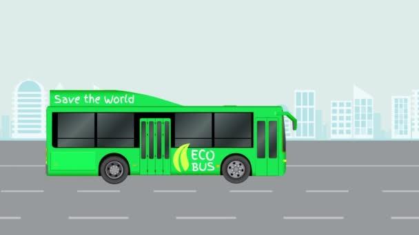 Zöld város eco busz úton. Animált illusztráció, elektromos tömegközlekedés. A videó érhető el, a 4k.