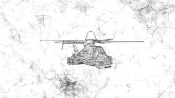 moderner Kampfhubschrauber rotiert. Filmmaterial im ultra-technologischen Stil glühender schwarzer Linien, die um Polygone fliegen.