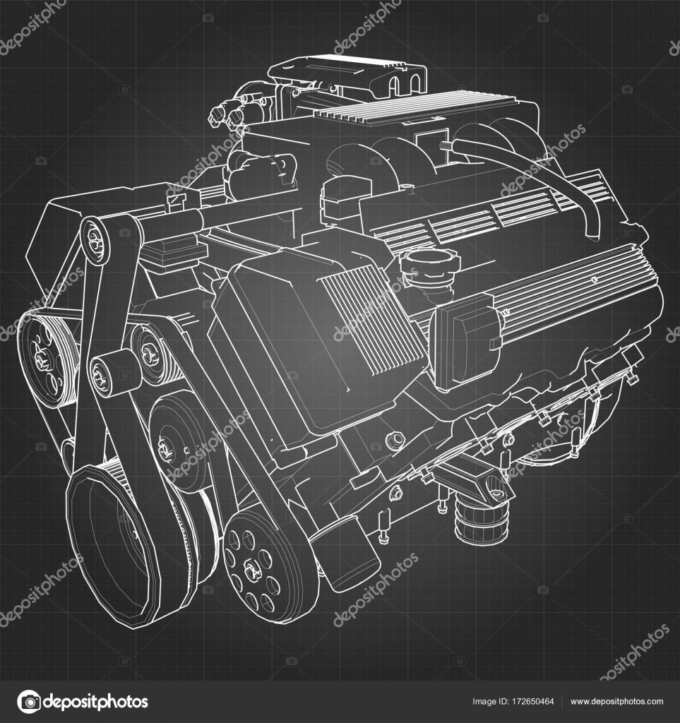 Powerful V8 car engine. The engine is drawn with white lines on a ...
