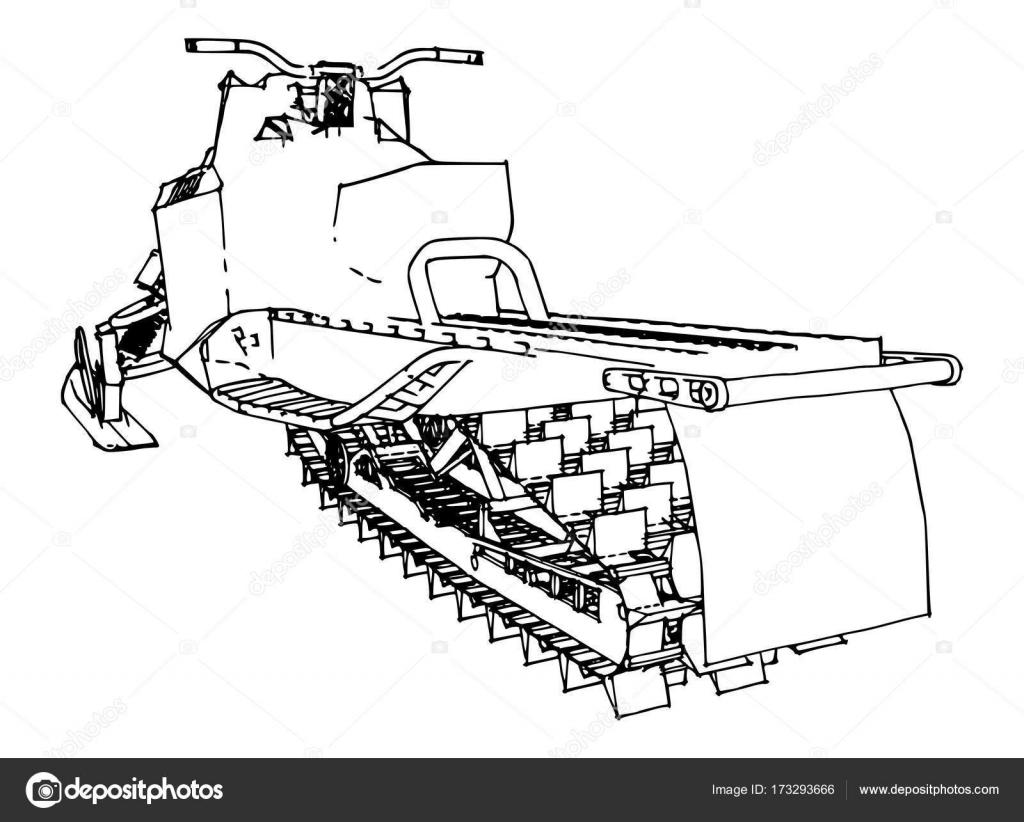 Schneemobil. Vektor-Illustration in einem handgemachten Stil. Arten ...