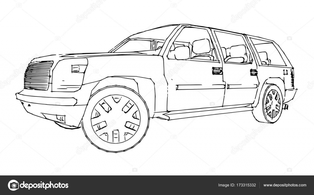 Suv Car Outline Drawing Of A Hand Stock Vector