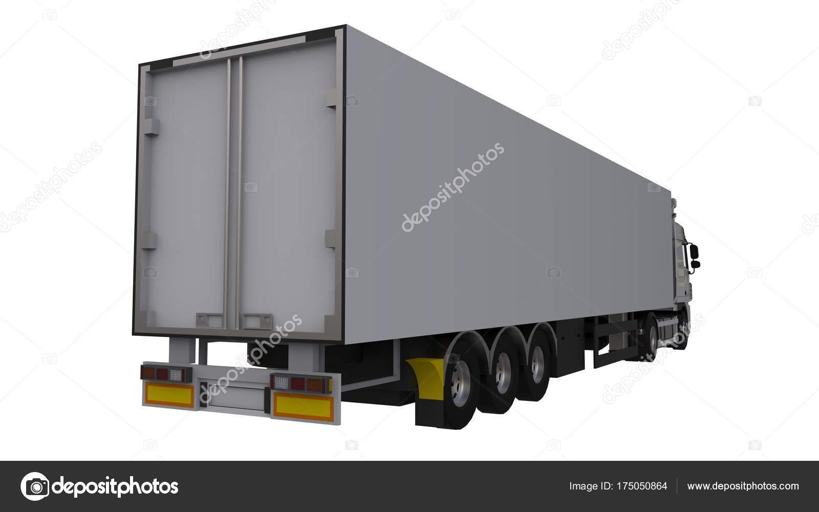 Camión blanco grande con un semi-remolque. Plantilla para la ...