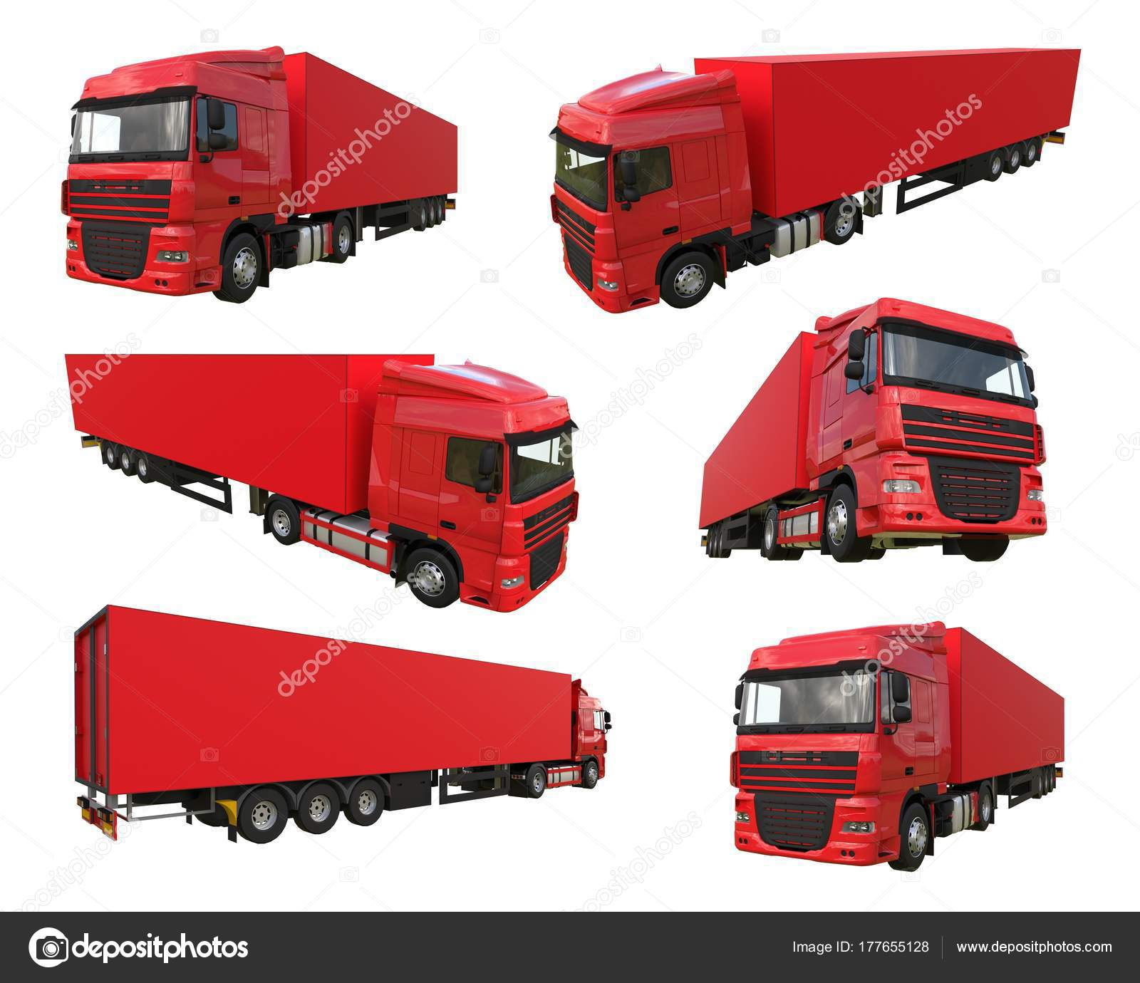 Carro rojo grande conjunto con un semirremolque. Plantilla para la ...
