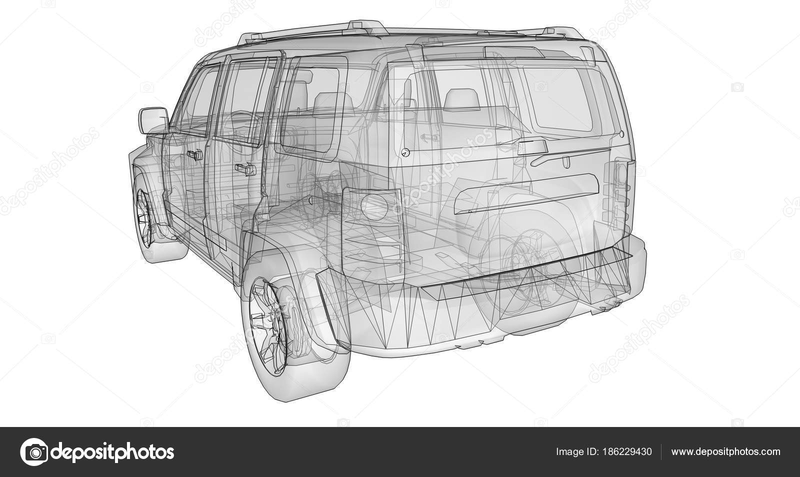 Vector Drawing Straight Lines : Transparent suv with simple straight lines of the body d