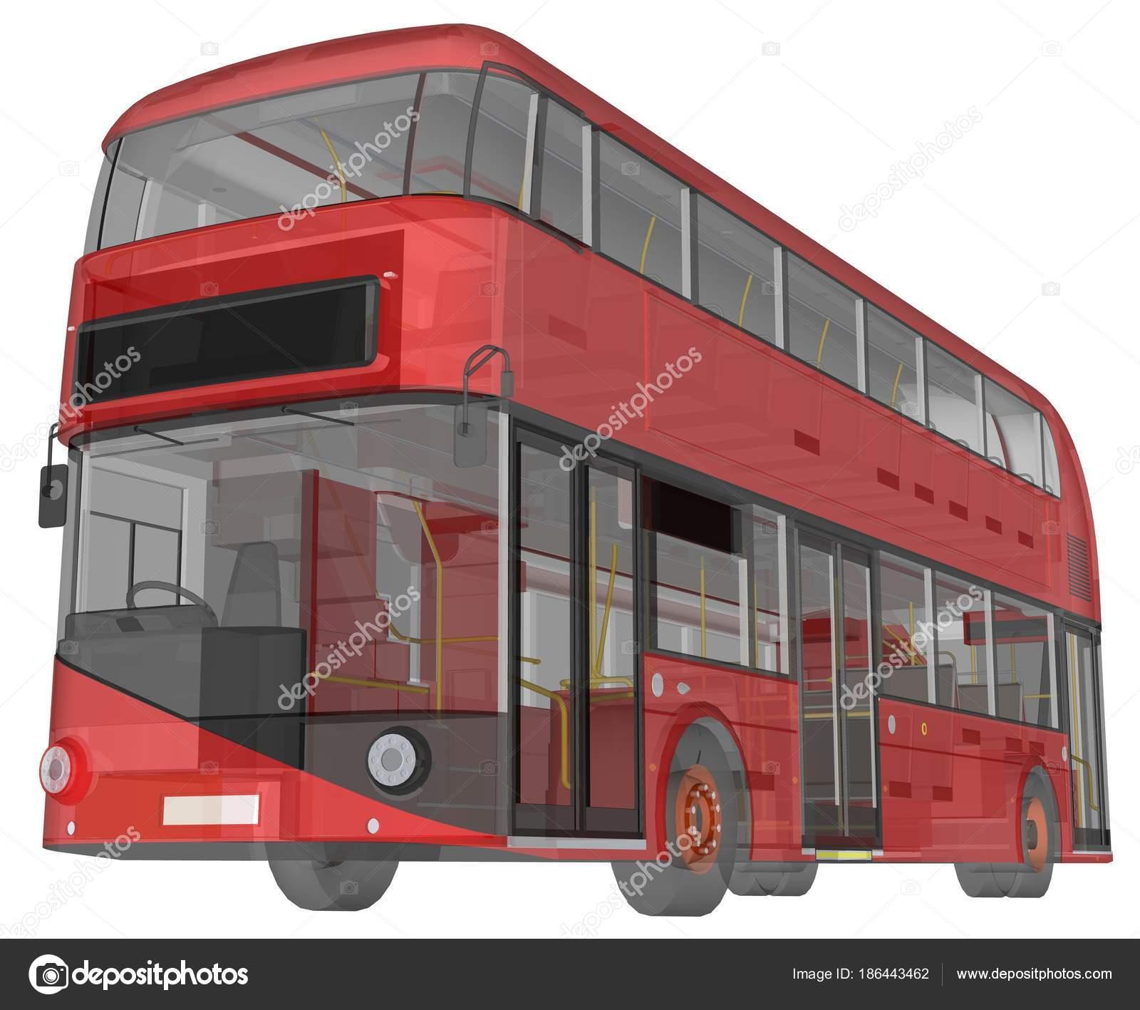 Ein Doppeldecker-Bus, einem transluzenten Gehäuse unter denen viele ...
