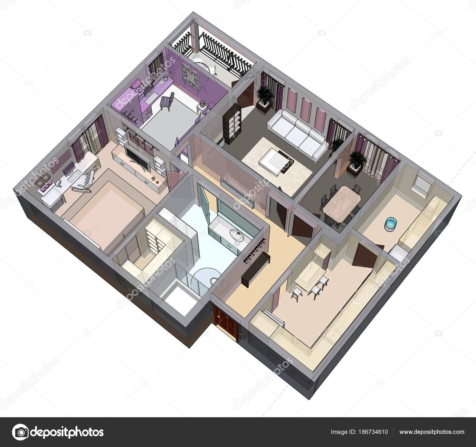 Planimetria dell 39 appartamento o della casa vendita 3d for Planimetria appartamento