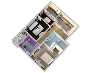 Floor plan of the apartment or house. 3d renderig.