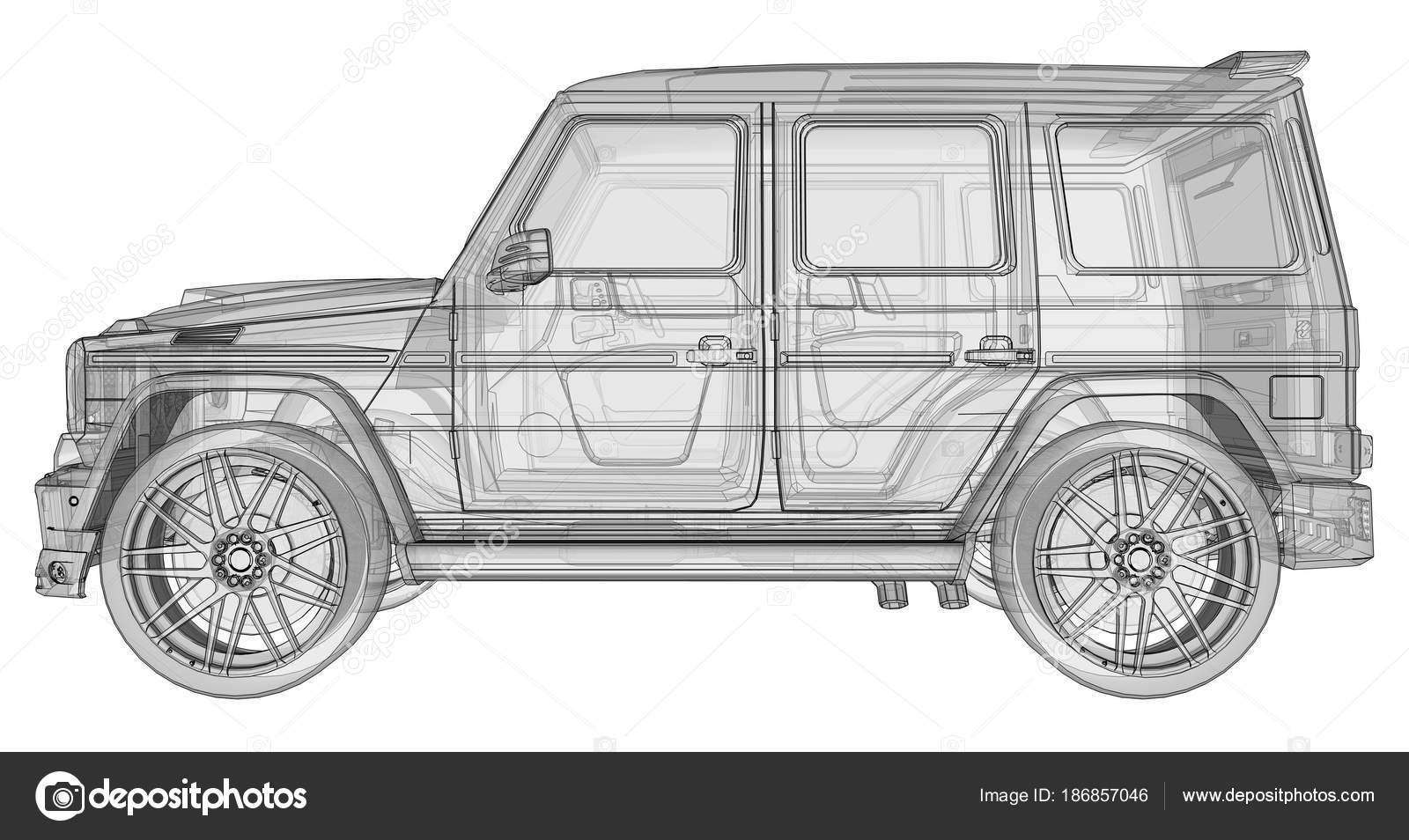 Ilustración tridimensional de la trama del coche Mercedes-Benz Clase ...