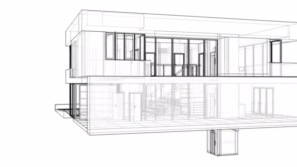 Výstavba obytné budovy s územím a plavecký bazén. 3D grafika v řádcích s průhlednými stěnami