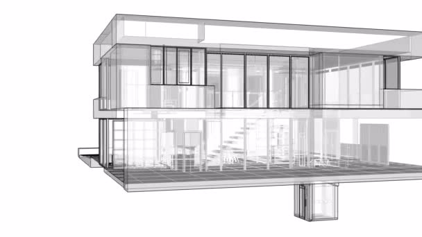 Construction of a residential building with a territory and a swimming pool. 3d graphics in lines with transparent walls