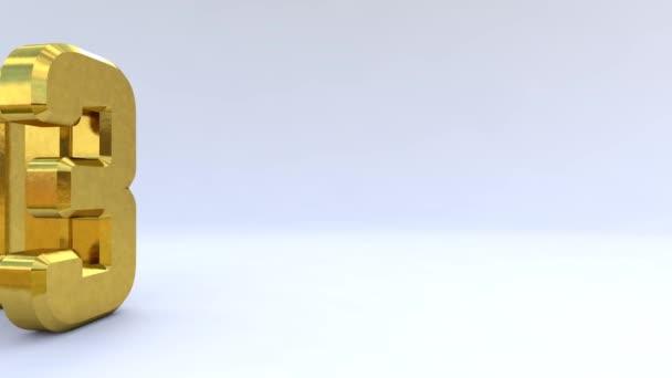 Zlata 3d logo izolovaných na bílém pozadí s efekt odrazu