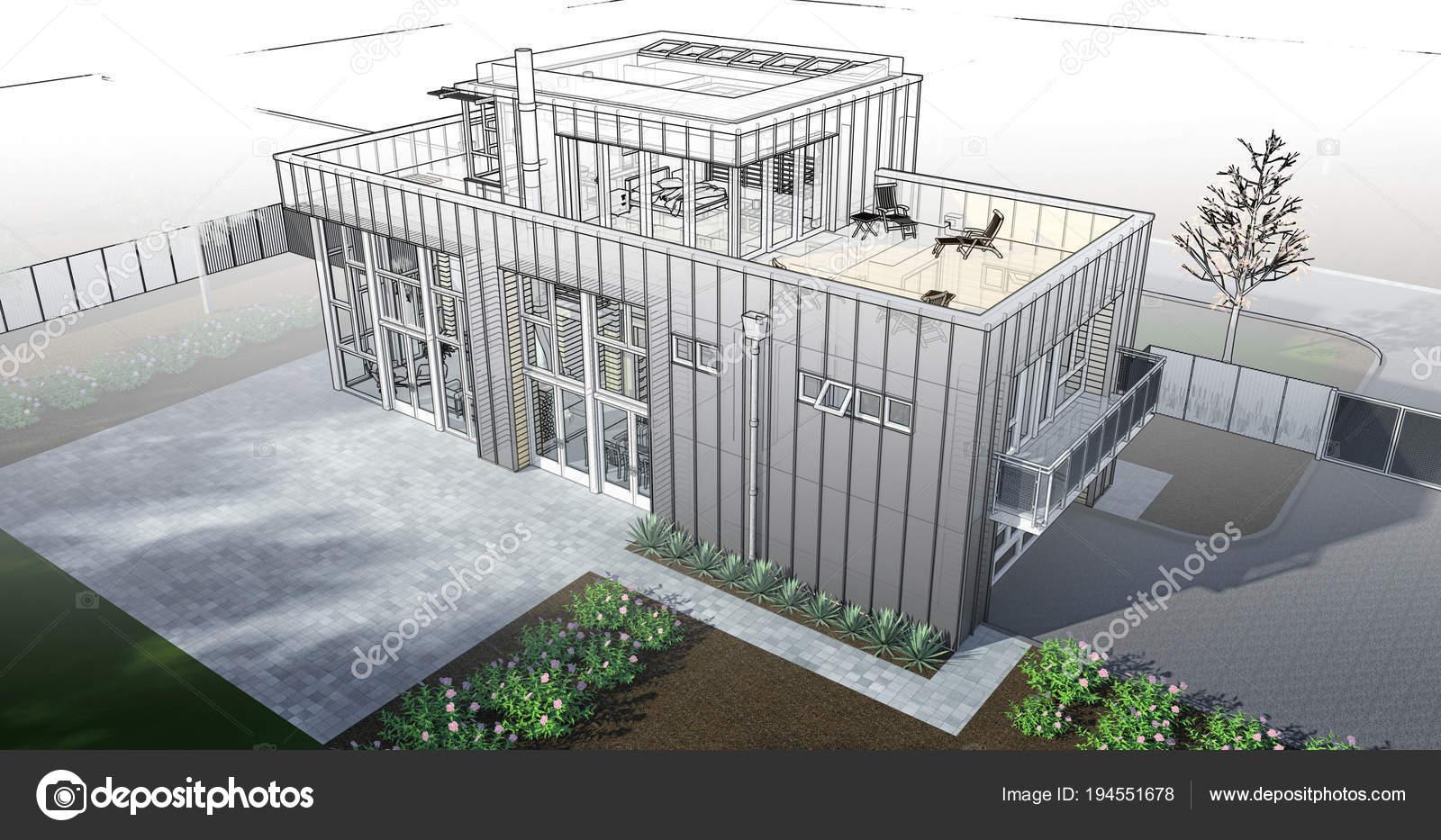 Moderni Dum Se Zahradou A Garazi Trojrozmerne Rastrovy Obrazek S