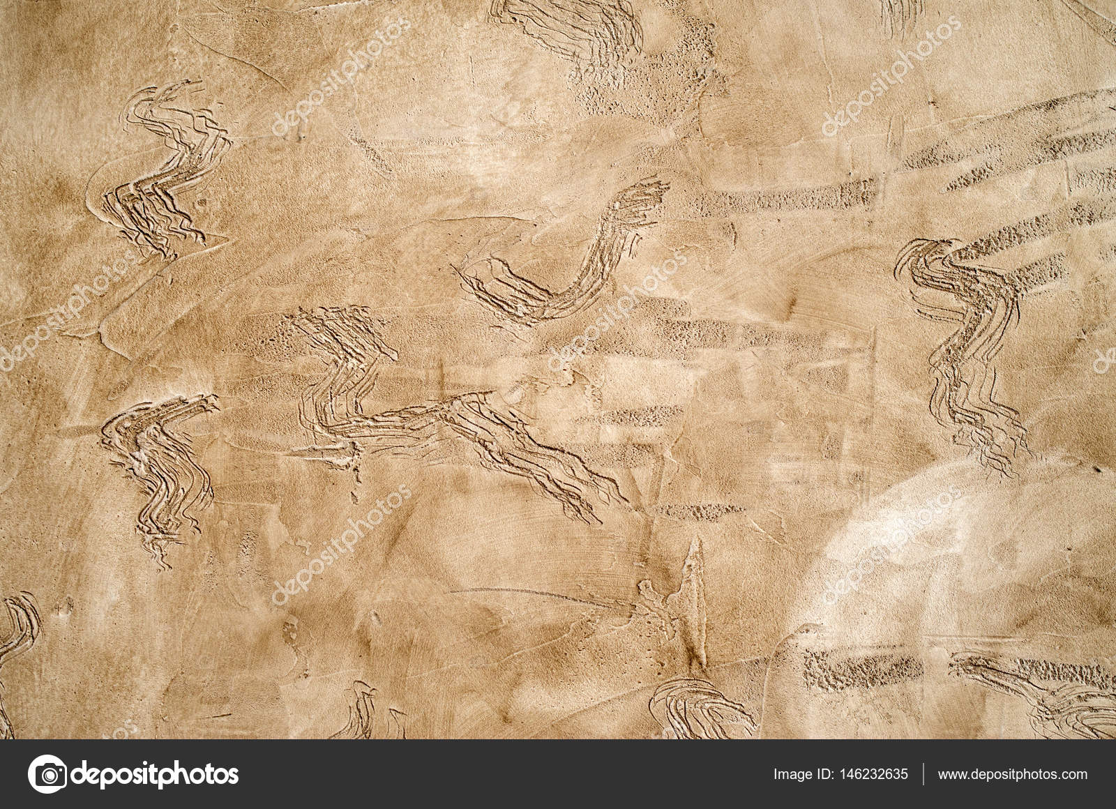 New brown decorative relief plaster on wall — Stock Photo ...