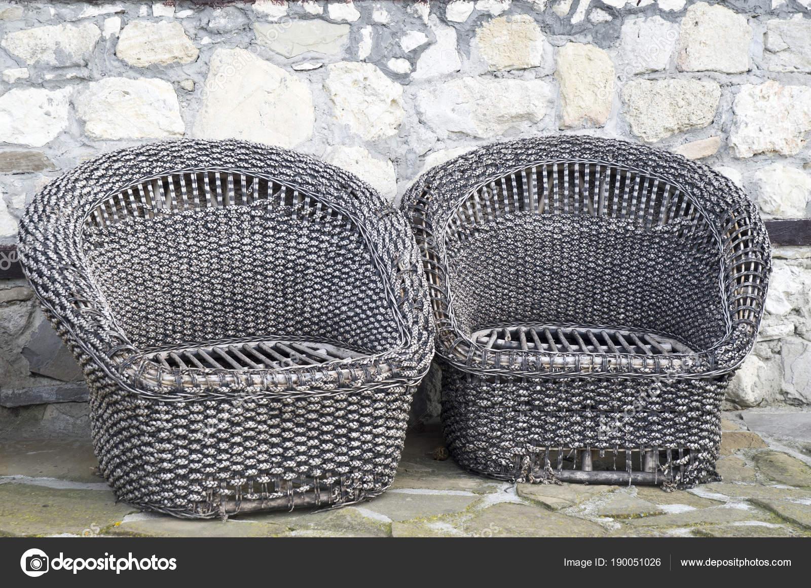 Rotan Rieten Fauteuils.Twee Oude Rieten Rotan Fauteuils Stockfoto C Isabela1966 190051026
