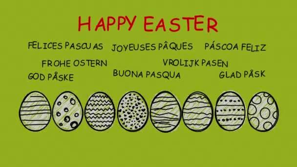 Happy Easter - animierte Hand gezeichnete Ostereier - Sequenz