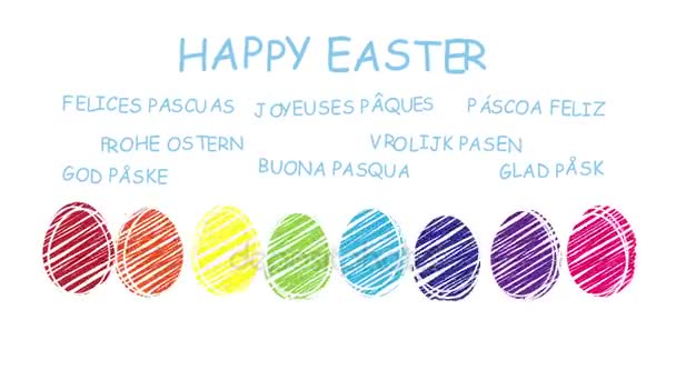 Šťastné Velikonoce - animovaný ručně kreslenou velikonoční vajíčka - posloupnost