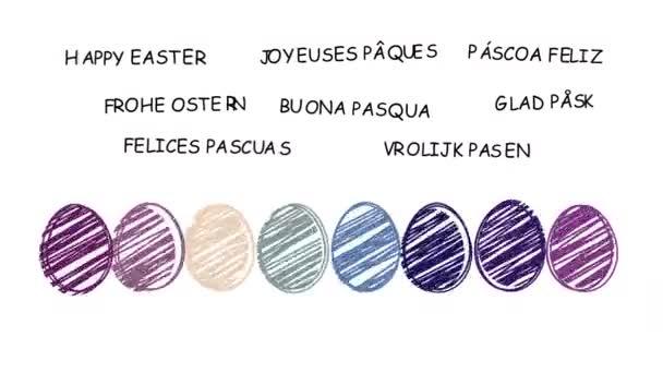Glücklich Ostern - animierte Hand gezeichnete Ostereier - Sequenz, alpha-Kanal