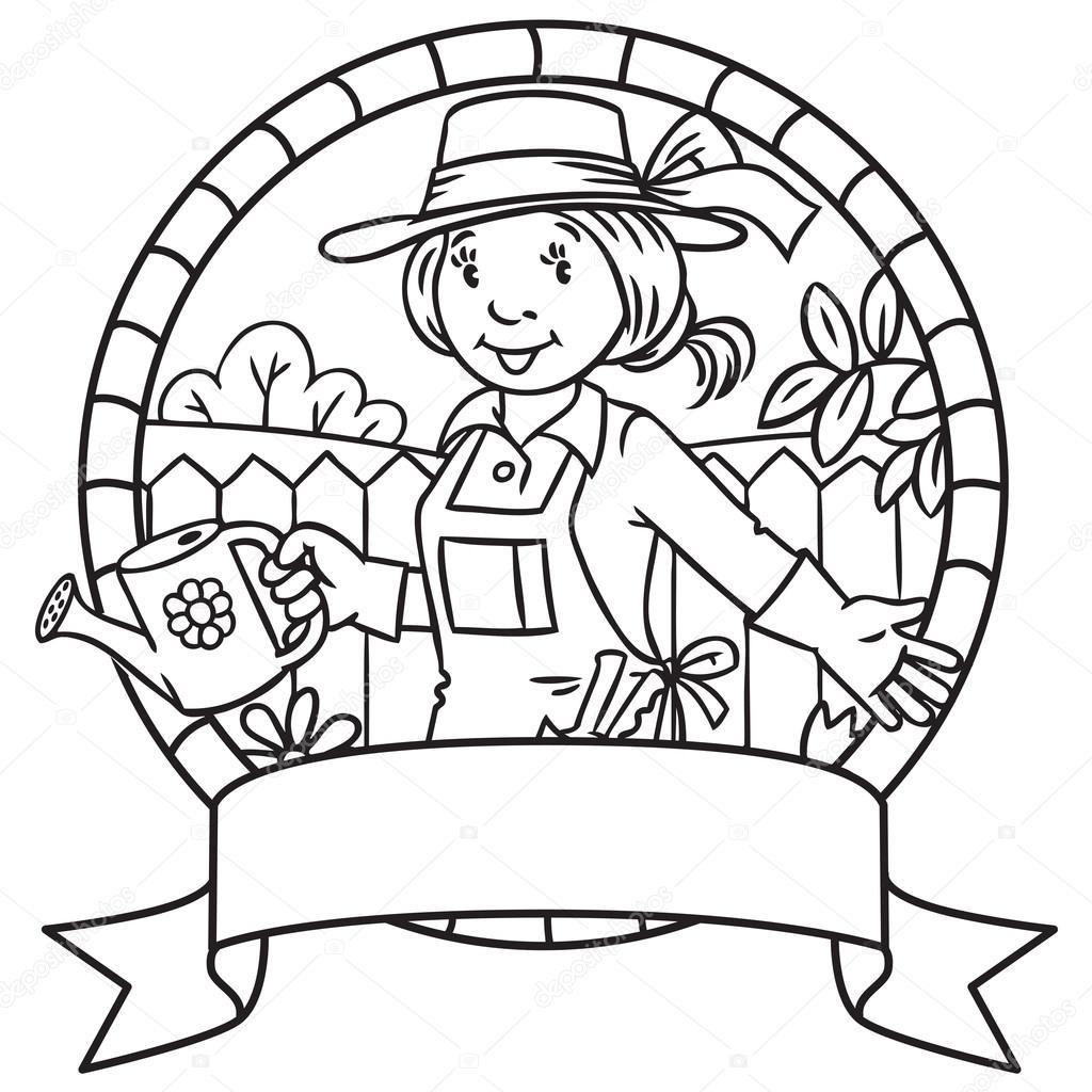Komik Kadın Bahçıvan Boyama Kitabı Amblem Stok Vektör