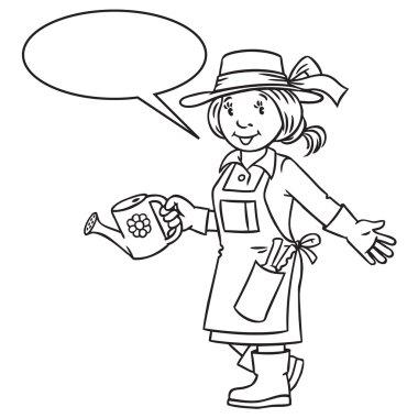 Coloring book of funny woman gardener.